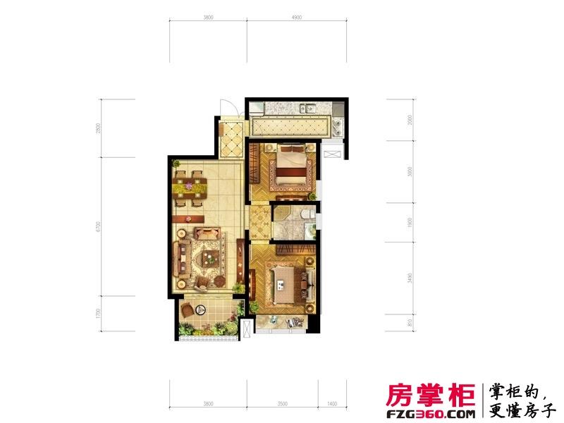 洛阳升龙城一期22号楼B5户型 2室2厅1卫1厨