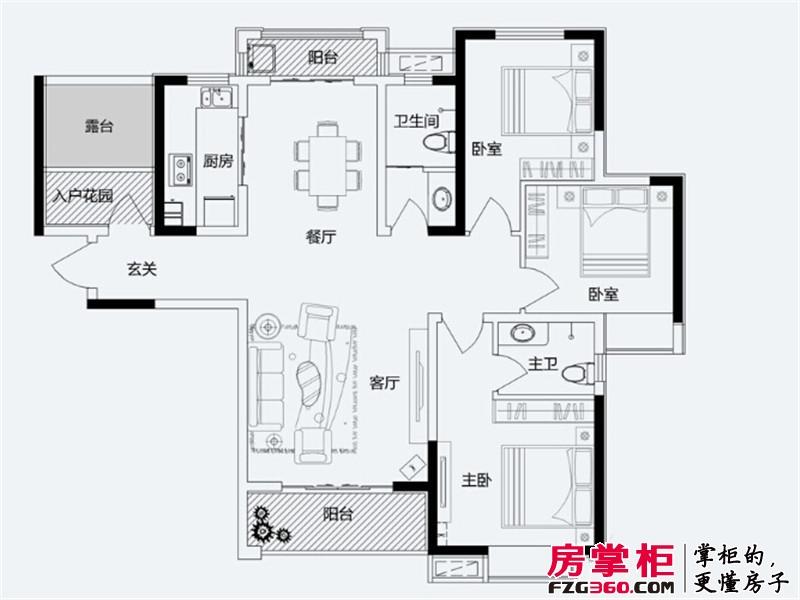 君悦蓝庭一期A户型 3室2厅2卫1厨
