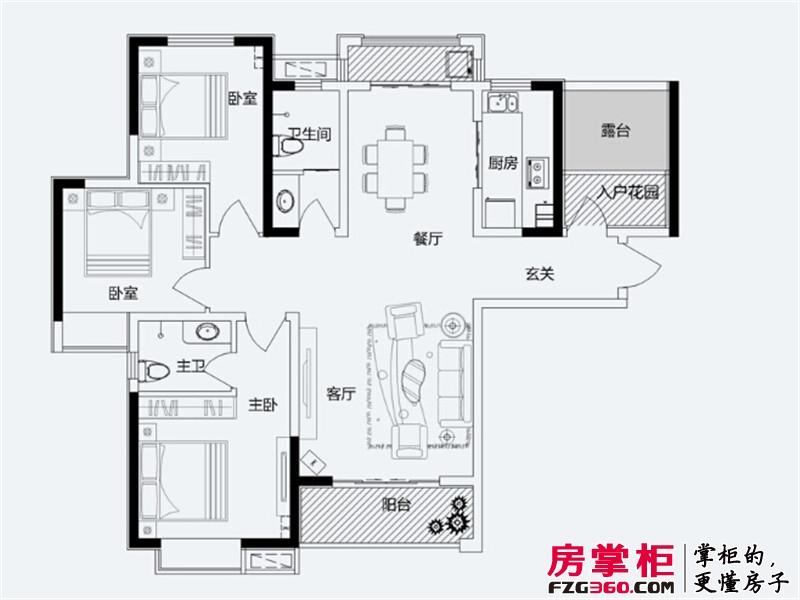 君悦蓝庭一期A1户型 3室2厅2卫1厨
