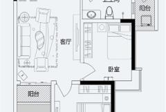 君悦蓝庭一期B户型 2室2厅1卫1厨