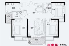 君悦蓝庭一期D户型 3室2厅2卫1厨
