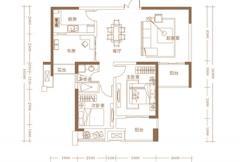 建业龙城B户型 3室2厅1卫1厨