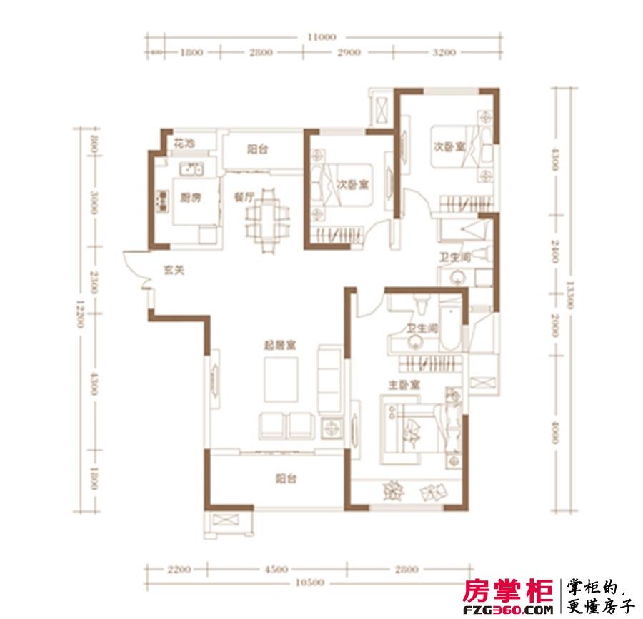 建业龙城C户型 3室2厅2卫1厨