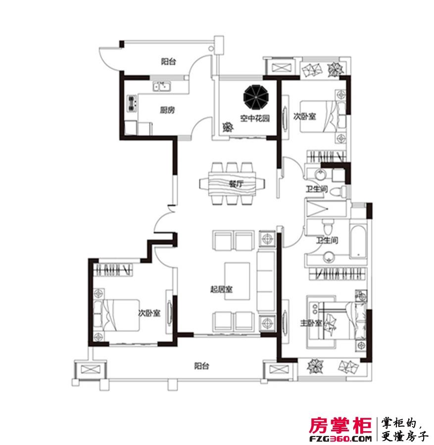 建业龙城16#1单元02户型 3室2厅2卫1厨