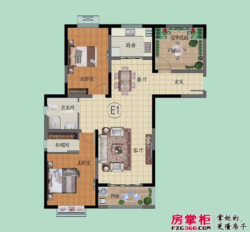 滨河御景苑E1户型 3室2厅1卫1厨