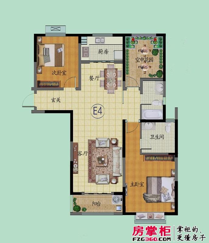 滨河御景苑E4户型 3室2厅2卫1厨