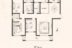 建业桂园高层17号楼D2户型 4室2厅2卫1厨