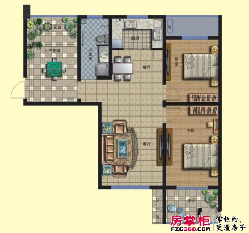 京熙帝景二期优+A1户型 3室2厅1卫1厨