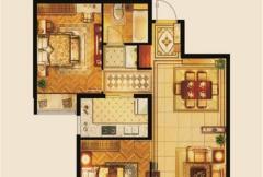 京熙帝景A2户型 2室2厅1卫1厨