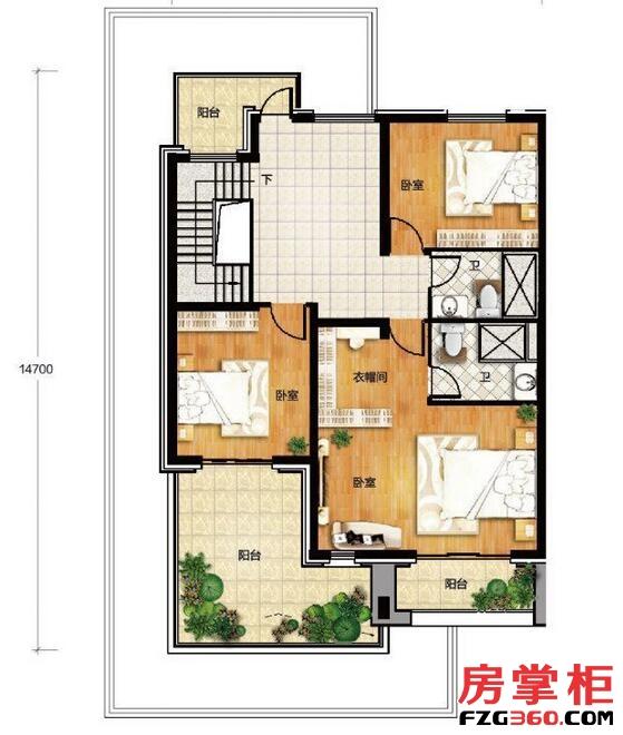 香龙湾Fb1户型地上三层