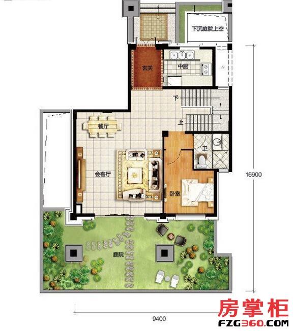 香龙湾Fa1户型地上一层