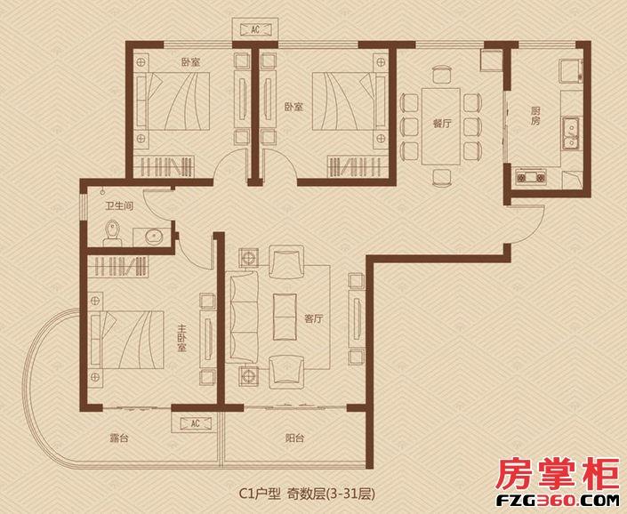 大�坠�际广场一期2/5号楼奇数层C1户型3室2厅1卫1厨
