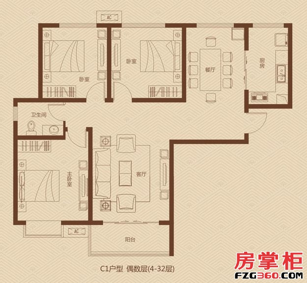 大�坠�际广场一期2/5号楼偶数层C1户型3室2厅1卫1厨