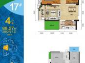 盛天悦景台17#楼4号户型 2室2厅1卫1厨