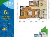 盛天悦景台15#楼6户型 4室2厅2卫1厨