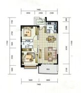 華融琴海灣10、11、13、14、15、16棟A1戶型 2室2厅1卫1厨 87.00㎡