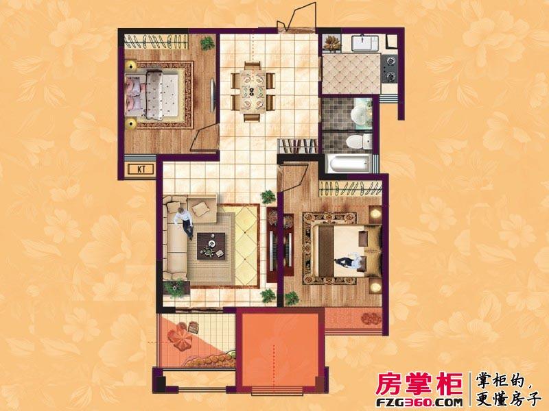 东方香颂户型图项目一期C2户型 2室2厅1卫1厨