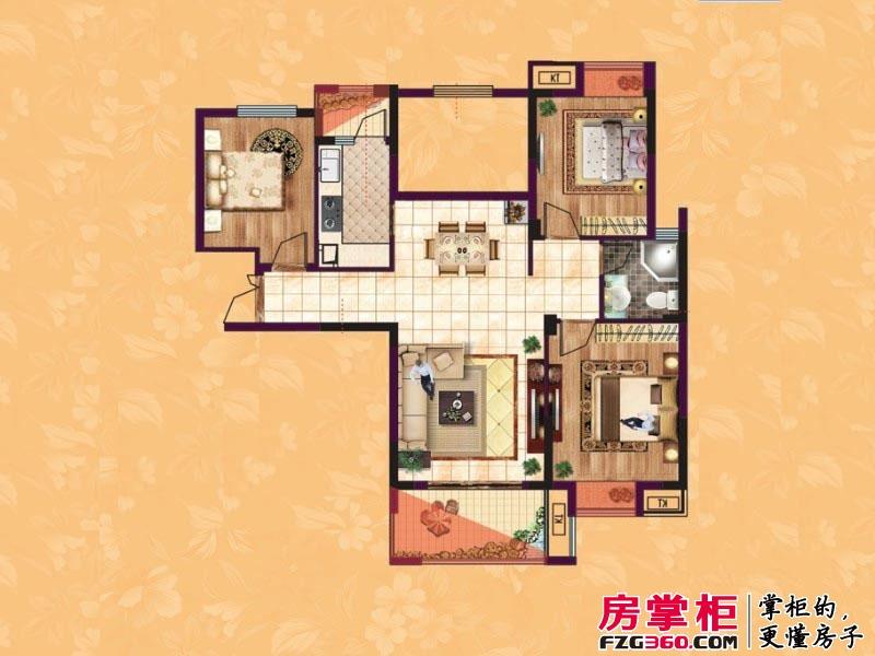 东方香颂户型图项目一期C3户型 2室2厅1卫1厨
