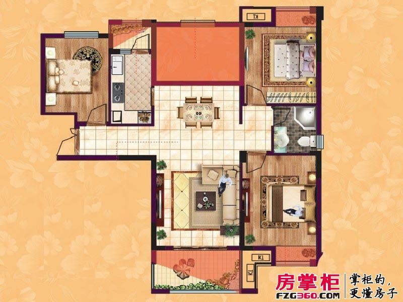 东方香颂户型图项目一期C4户型 3室2厅2卫1厨