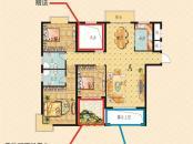 南莲华庭户型图1#楼高层A户型 3室2厅2卫1厨