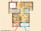 南莲华庭户型图1#楼高层B户型 2室2厅1卫1厨