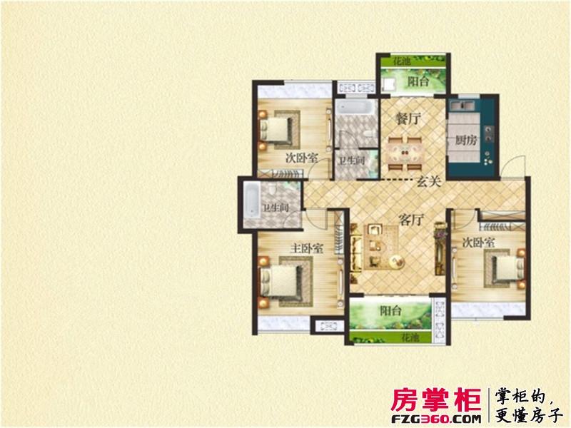 东投阳光城户型图BF户型图 3室2厅2卫1厨