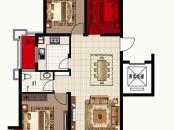 波尔多联邦美树堡户型图一期D户型图 3室2厅1卫