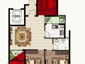 波尔多联邦美树堡户型图一期E户型图 3室2厅1卫
