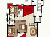 波尔多联邦美树堡户型图一期A1户型图 3室2厅2卫