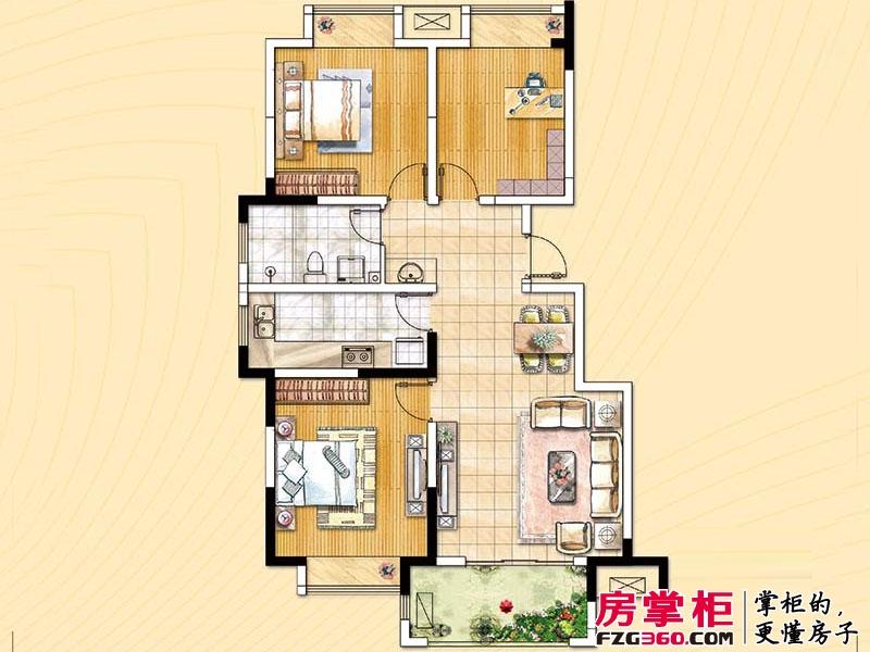 荣盛龙湖半岛户型图雨荷苑16#h1户型 3室2厅1卫1厨