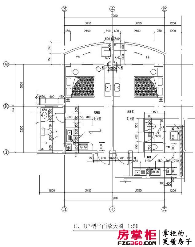 龙栖湾温泉1号户型图北侧C、E户型 1室1厅1卫