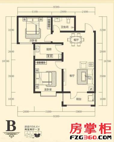 B户型 2室2厅1卫1厨 94.40㎡