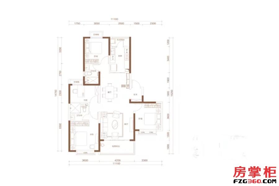 C户型 4室2厅2卫1厨 156.00平米