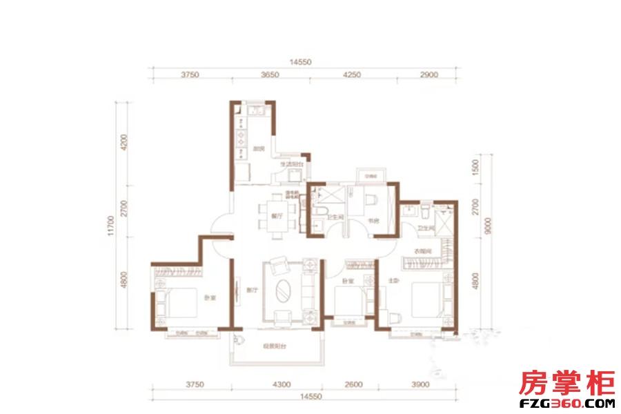 A户型 4室2厅2卫1厨 154.00平米
