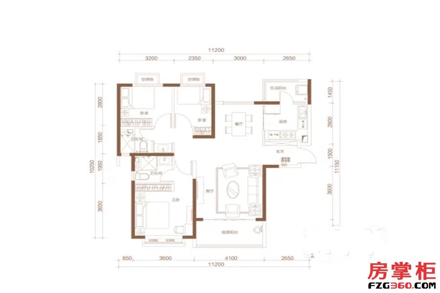 I户型 3室2厅2卫1厨 131.00平米