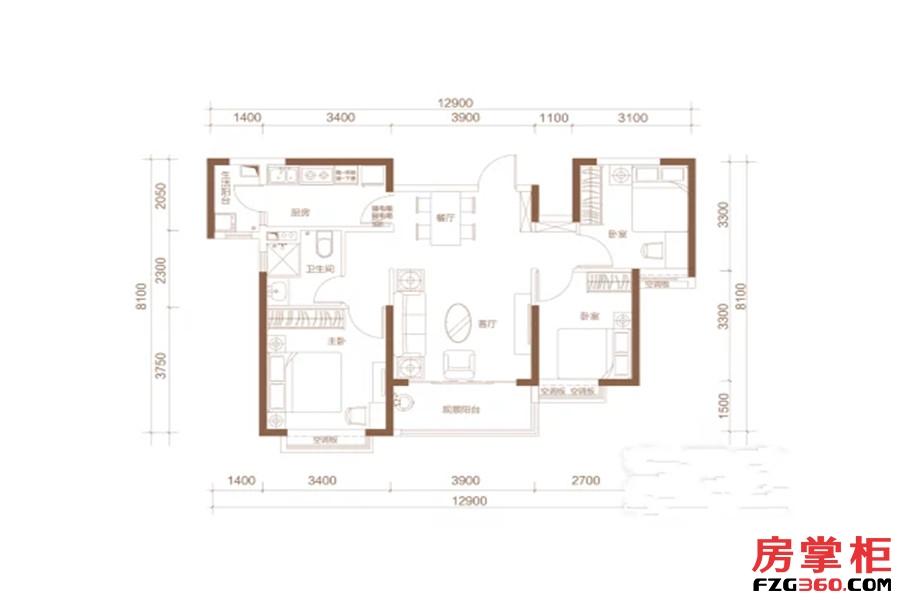 H户型 3室2厅1卫1厨 107.00平米