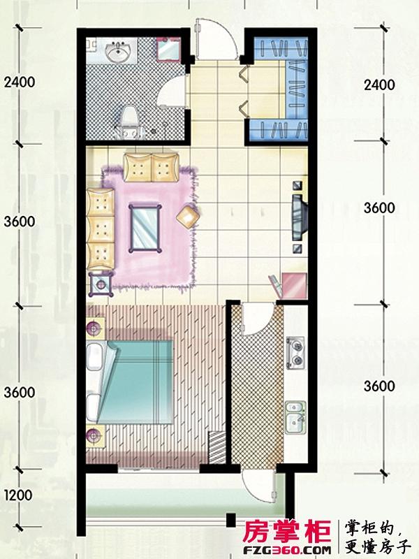 嵛景华城户型图86#,87#,90#B户型 1室2厅1卫