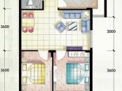 嵛景华城户型图86#,87#,90#C户型 2室2厅1卫