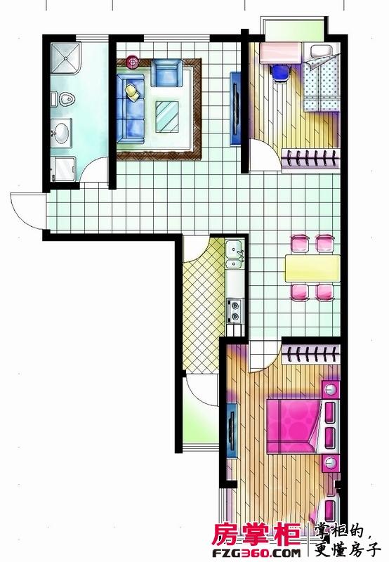 嵛景华城户型图42和43号楼D户型图 2室2厅1卫1厨